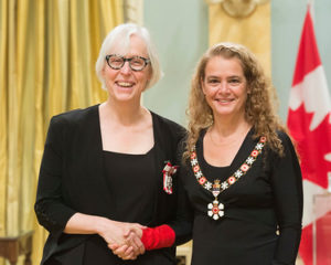 Katherine Carleton, C.M.. with Her Excellency the Right Honourable Julie Payette, Governor General of Canada,