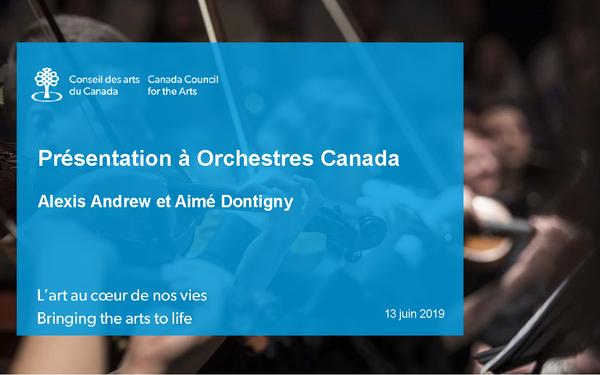 Presentation to Orchestras Canada Alexis & Aimé