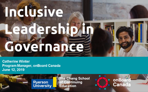 Cover Slide: Inclusive Leadership in Governance