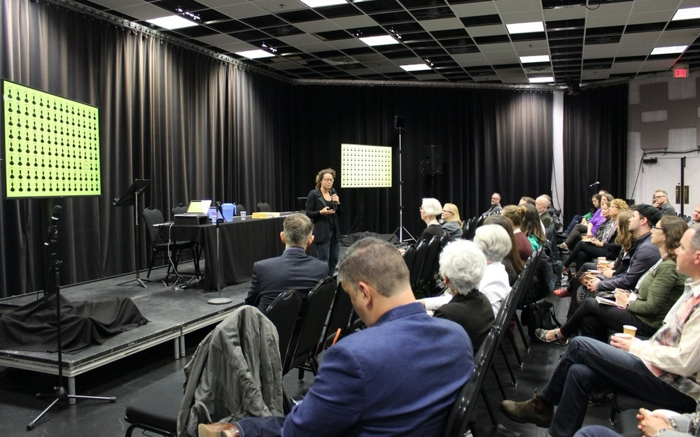 Nina Simon Keynote speaker in front of audience